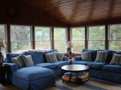 Eastham cottage rental - sunroom with all new windows surronding room & flat panel tv & WIFI