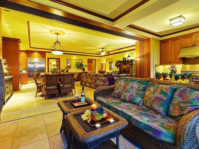 "Waikoloa Beach Resort condo rental - Kolea Villa 2D ""Ocean Breeze"" - from the Lanai, looking in at Dining/Great Room"
