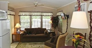 Flat Rock cottage photo - Living room with pullout couch and cable TV. Air conditioning and ceiling fan.