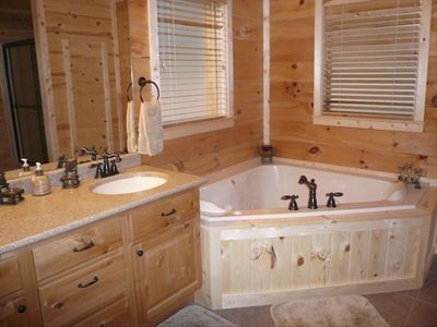 Master bath w/ private, 2 person whirlpool tub.