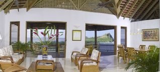 Cap Estate villa photo - Living Room with Pigeon Island in background.