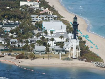 Historic Hillsboro Lighthouse is the backdrop for our beach.