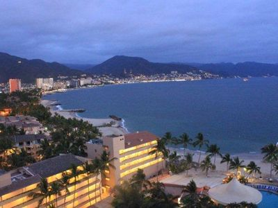 View of Puerto Vallarta at dusk from our balcony