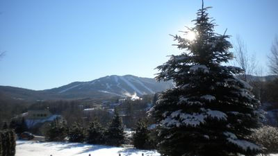 View of ski trails from deck