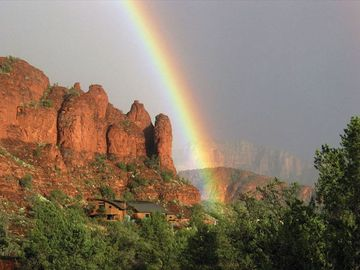 Sedona house rental - Actual view of the house in lower left of photo. Great views from every window!
