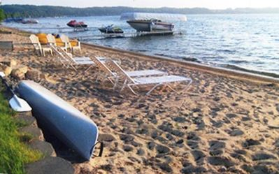 Our private sandy beach--mooring/parking available for a small boat