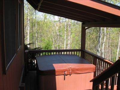 Hot tub on covered porch
