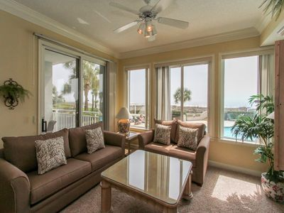 Living Area with Ocean and Pool Views at 3102 SeaCrest