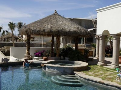 private spa, pool, and palapa