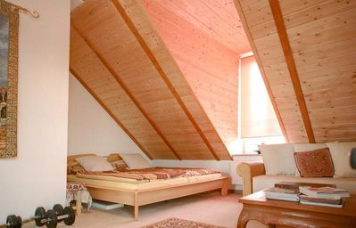 "Munich villa rental - Roof#1 King Size Bed "" for 2 adults & Open Bed Sofa also for additional 2 adults"