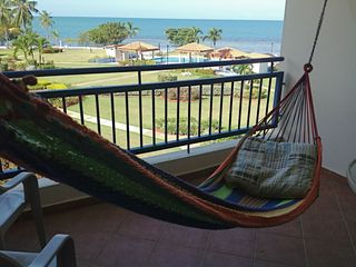 Enjoy a beautiful view while relaxing at the hammock.