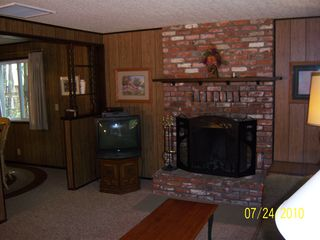 Big Bear Lake cabin photo - Spacious living room; wood buring fireplace,DVD, & cable