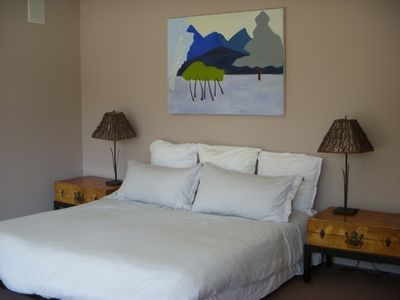 Master bedroom with European Sleepworks organic King sized mattress
