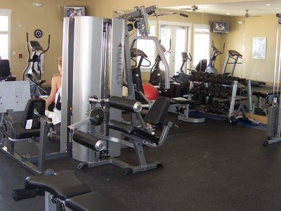 State of the art fitness room over looks the pool and beach.