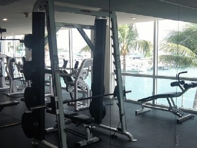 Gym with view of bay