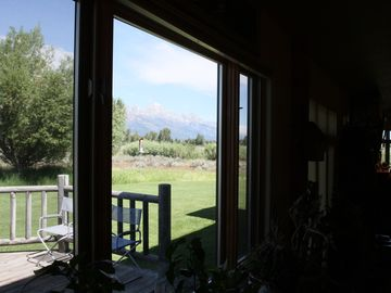 View from dining area to Grand Tetons