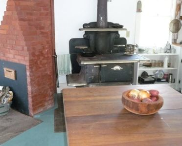 Kitchen with wood-fired stove