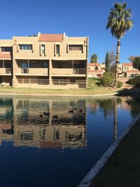 Tempe townhome rental - end unit next to grass and pool