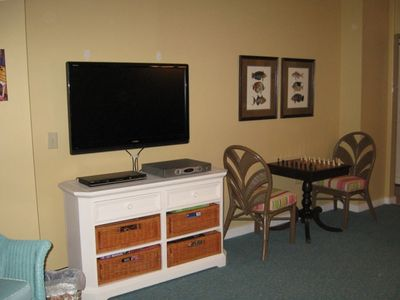 Ocean Creek condo rental - HDTV and Game Table await your lesuire pleasure.