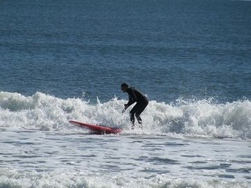 One of the surfers on the 6th street surfing beach.