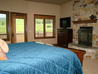 Midway Utah Luxury Vacation Home Great Ski Rental Master Bedroom With Fireplace
