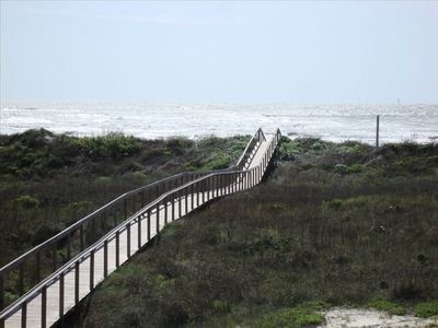 Easy walk on wooden boardwalk to the beach.