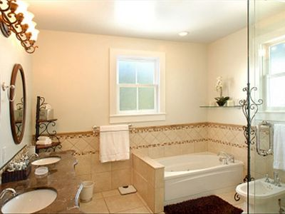 2nd Floor Luxury Bathroom in Main House has a Jacuzzi Tub and Glass Shower