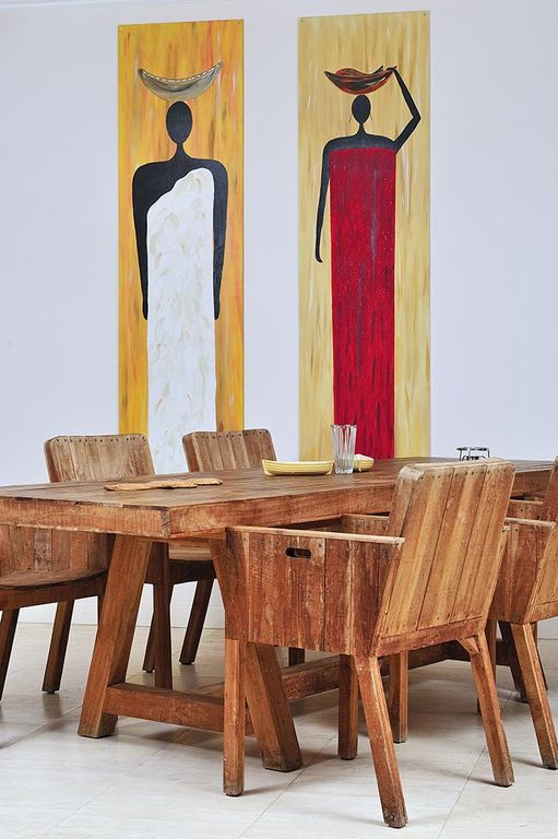 Designer Piet van Eek dining table set and art by Avi