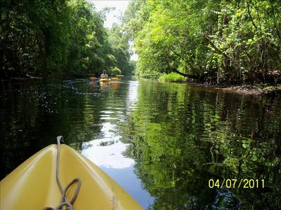 Kayak down the canal to the river. See Old Florida, it is beautiful.