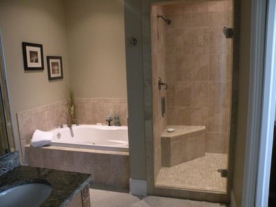 Luxurious master bath with Jacuzzi tub and separate 2 person shower