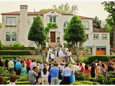 wedding on the front steps of the main house