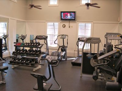 Well stocked gym with flat screen TV, treadmills, bikes, and everything else!!!