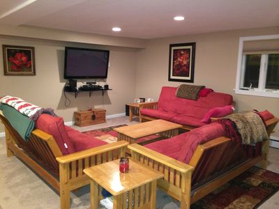 Downstairs Living Room with Full Size Memory Foam Futons