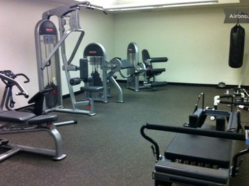Gym weights equipment and pilates machine