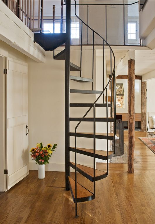 Spiral staircase to second floor loft