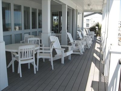 Two spectacular oceanfront porches-rocking chairs & porch swing-hear the ocean?