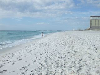 Pensacola Beach condo photo - Enjoy the crystal clear water and white sandy beach, looking West from balcony