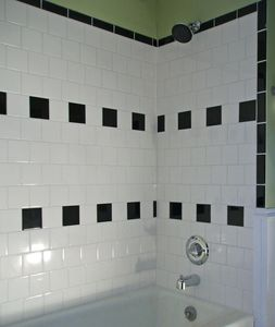 All new tiled bath has ideal water pressure for a nice relaxing shower...
