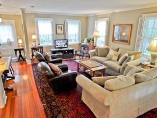 Edgartown house photo - Sunny Living Room Has Ample Seating & Media Center