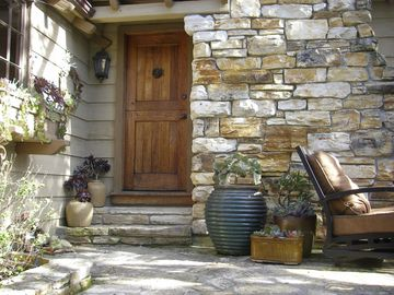 Charming front door and patio