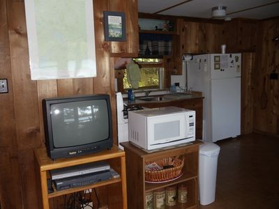 Saranac Lake cabin rental - TV/Kitchen Area