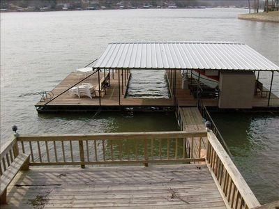 Large dock with 10x30 slip and swim platform