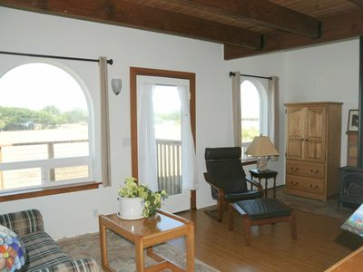 Mendocino house rental - Master Suite's private living area includes stereo, gas fire place, ocean views