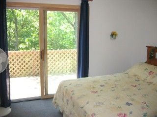 Bushkill house photo - Master Bedroom with queen bed, sliders to deck!