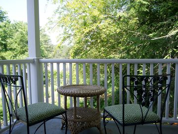 Deck overlooks owner's garden.