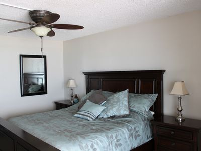 Master bedroom with new ceiling fan