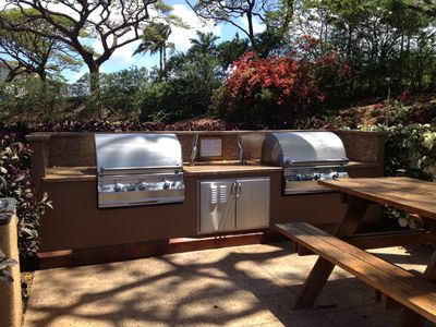 Three very nice barbecue areas on our property with granite and stainless steel