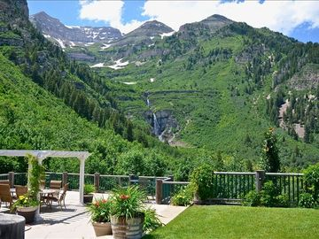 Sundance lodge rental - The deck has a spectacular view of Stewart Falls and majestic Mt. Timpanogos.