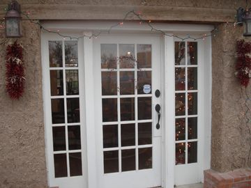 Front door around the holidays