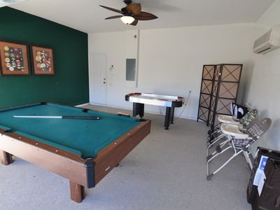 Game room with A/C, 2 sets of brand new strollers/high chair/pack n play